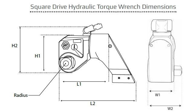 Atlas Copco RT hydraulic torque wrench dimensions