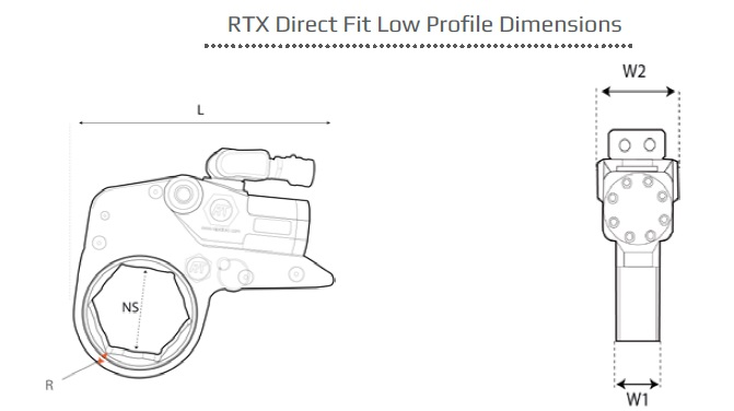 Atlas Copco RTX hydraulic torque wrench dimensions
