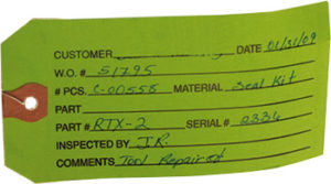 First Bolting quality control green ticket